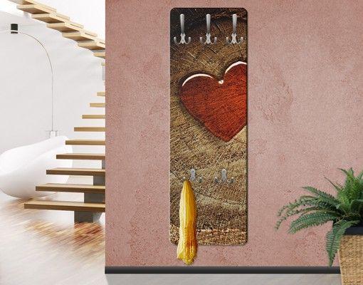 Garderobenpaneel Braun - Holzoptik Natural Love - Garderobe ...
