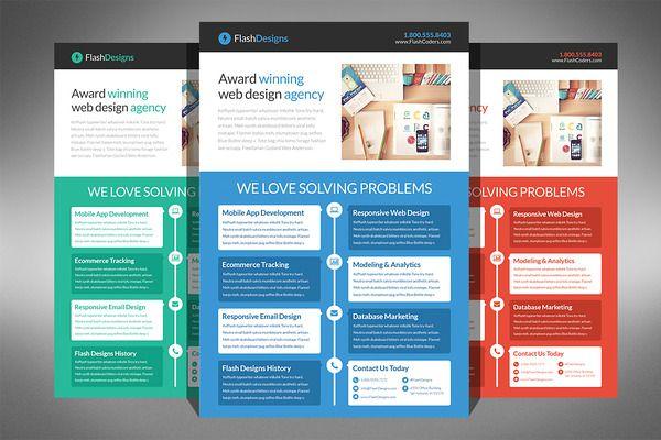 Flat Design Web Design Agency Flyer Web design agency, Design