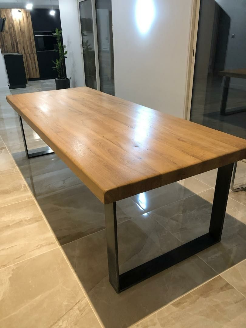 table bois pied metal table