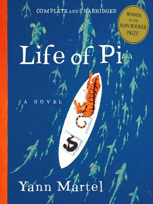 Life of Pi by Yann Martel Book Cover - Illustrated boat with dark boy and tiger inside, above fish, turtles and sharks in the ocean