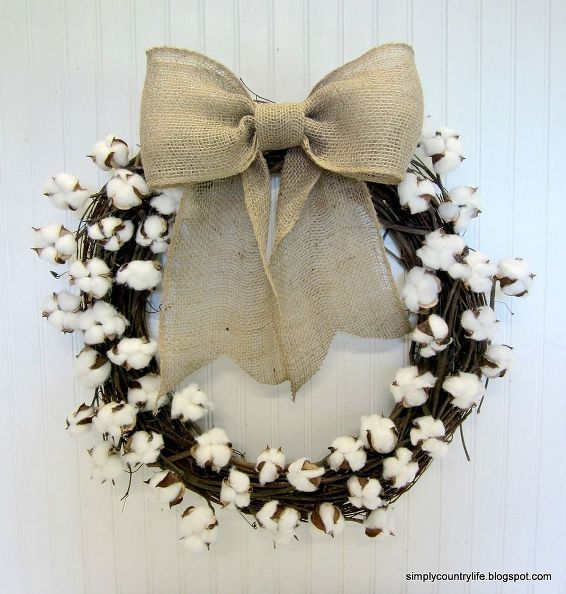 How To Make Your Own Cotton Boll Branch Wreath With Images Diy
