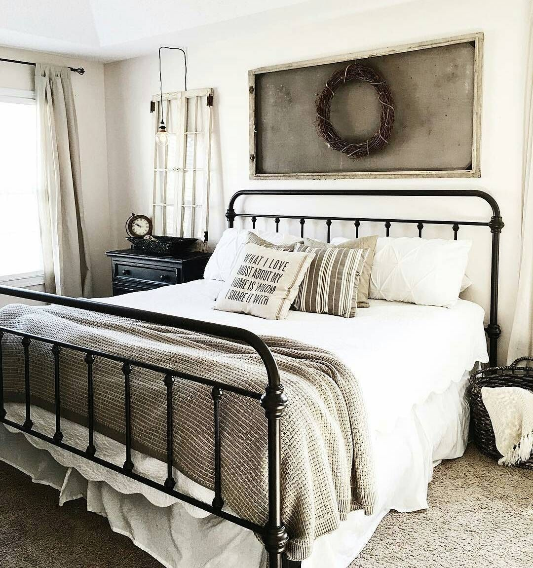 White master bedroom decor  I love this bed and the neutral greige scheme  Master bedrooms