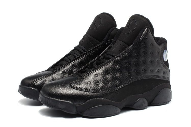 74716d72adfc6 2017 Air Jordan 13 Retro All Black Leather Mens Basketball Shoes in ...