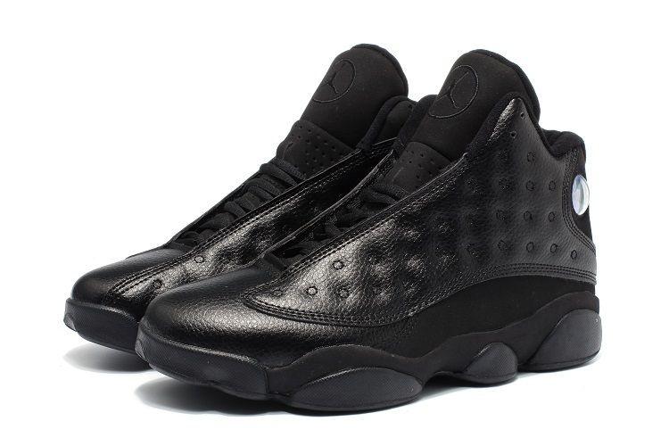 1e96c82da35 2017 Air Jordan 13 Retro All Black Leather Mens Basketball Shoes in ...