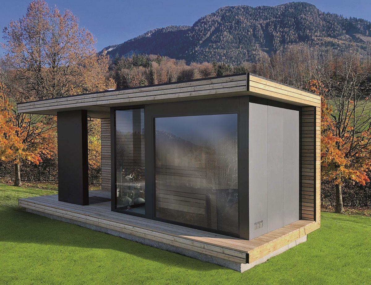 Moderne Aussensauna Fur Den Ihren Garten Sopra Ag Saunahaus Garten Gartenhaus Modern Gartenhaus Mit Sauna