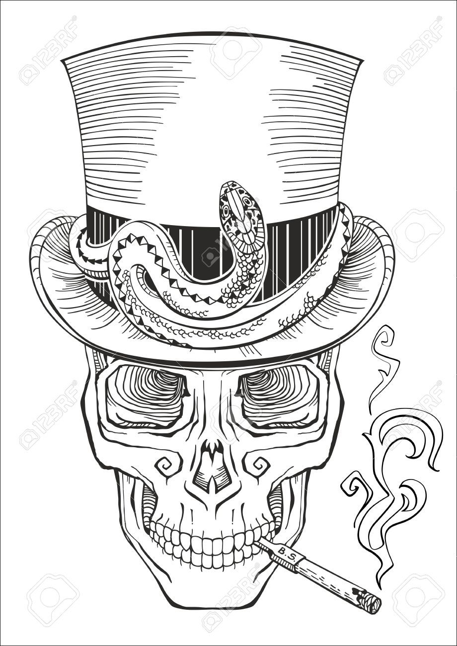 Human Skull In A Top Hat Baron Samedi Royalty Free Cliparts Skull Coloring Pages Baron Samedi Skull Girl Tattoo