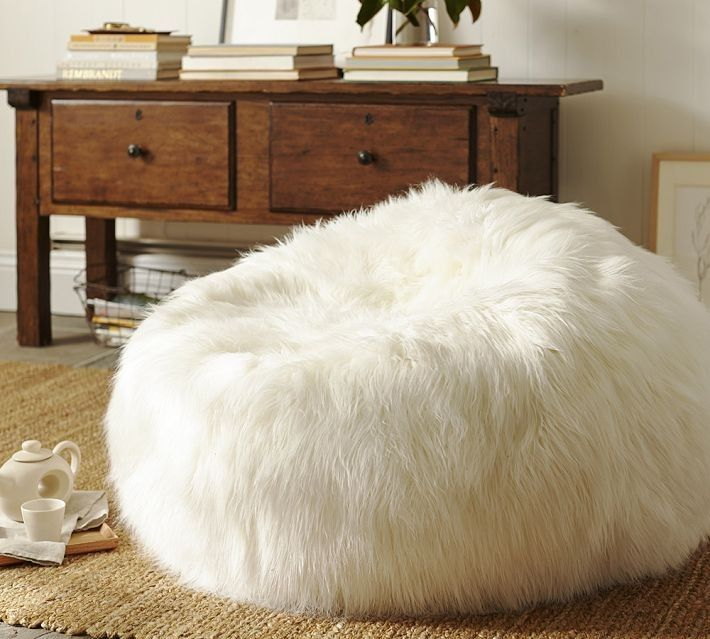 Option Instead Of Floor Pillows, Faux Fur Beanbag   Long Shaggy
