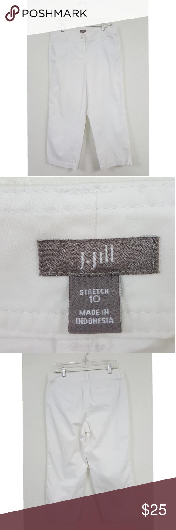J. Jill Sz 10 Stretch White Slacks Pants J. Jill White Stretch Crop Slack Pants  - Good Condition  - 100% Cotton - Size 10 - Waist 32 - Inseam 25 - Rise 10 - Hips 38 - Leg Opening 8  Thank you J. Jill Pants #whiteslacks J. Jill Sz 10 Stretch White Slacks Pants J. Jill White Stretch Crop Slack Pants  - Good Condition  - 100% Cotton - Size 10 - Waist 32 - Inseam 25 - Rise 10 - Hips 38 - Leg Opening 8  Thank you J. Jill Pants #whiteslacks