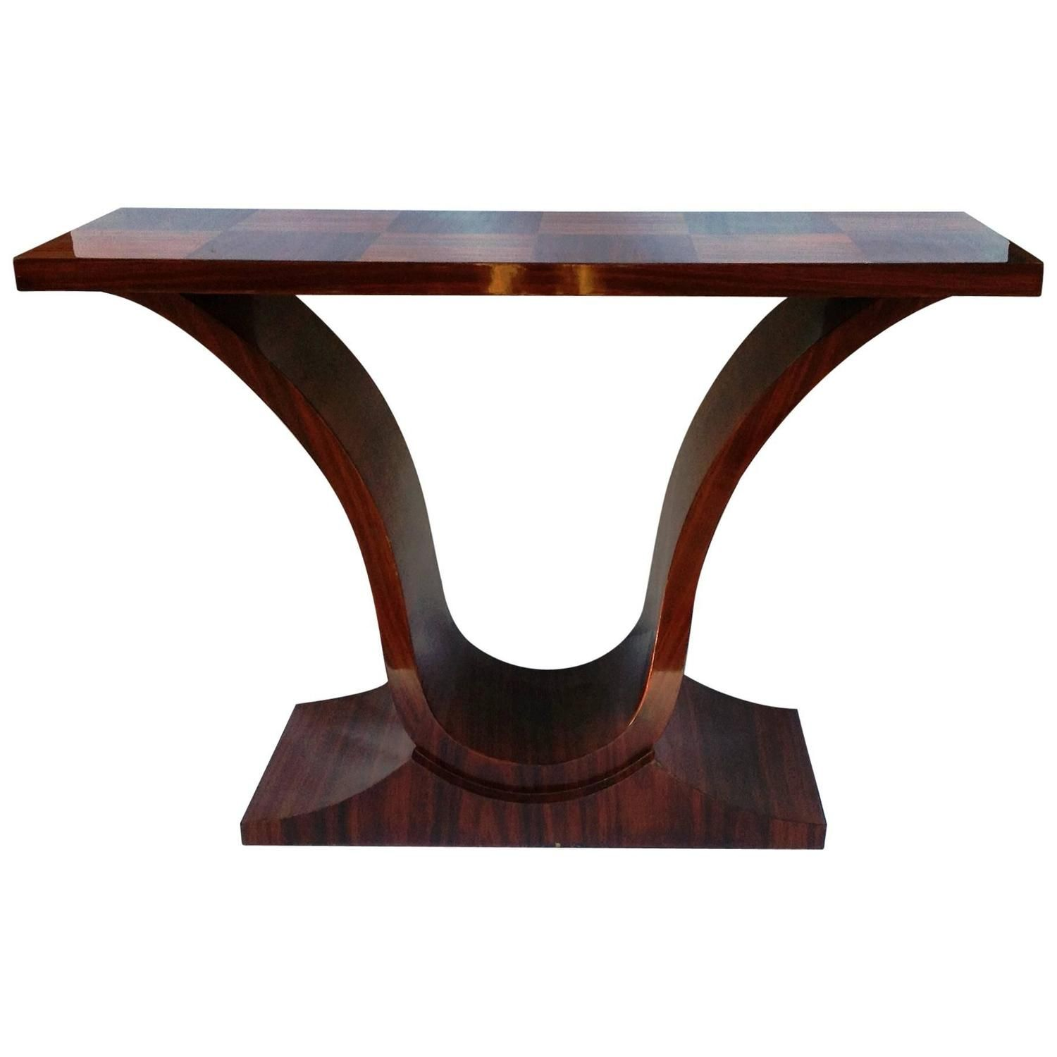 Elegant Art Deco Style Mahogany Veneer Console Table, Late 20th ...