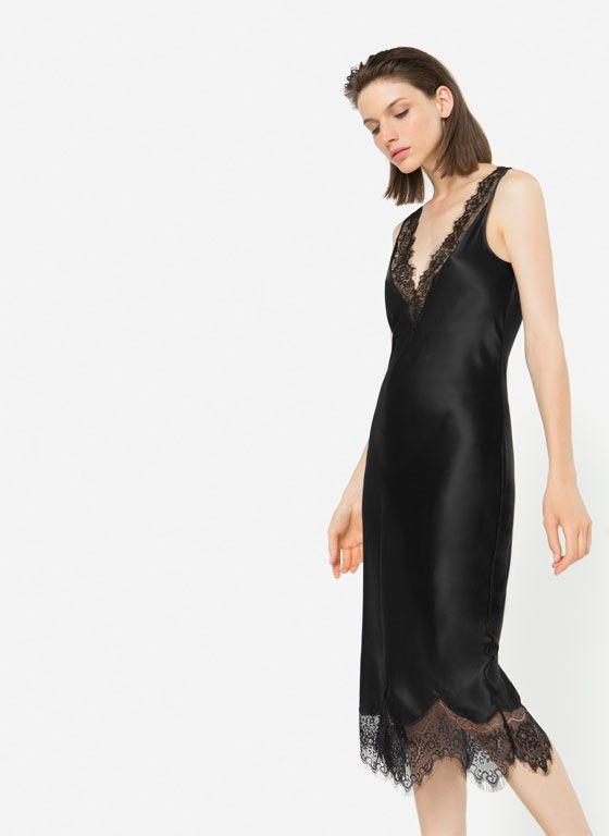 Vestido negro lino uterque