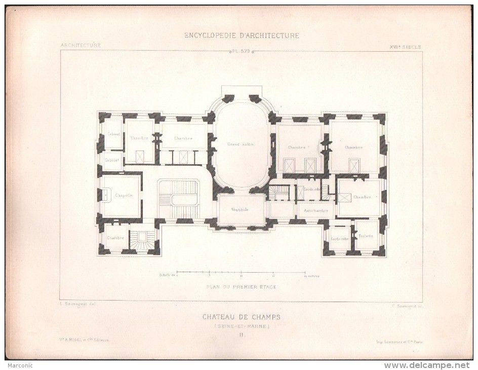 Plan Chateau De Champs Lot De 4 Plans Architecte L Sauvageot Champs Sur Marne How To Plan Vintage House Plans