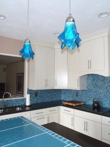 Blue turquoise aqua pendant light fixture kitchen island lights uneekglassfusions housewares on artfire also best lighting images pinterest fixtures lamps and