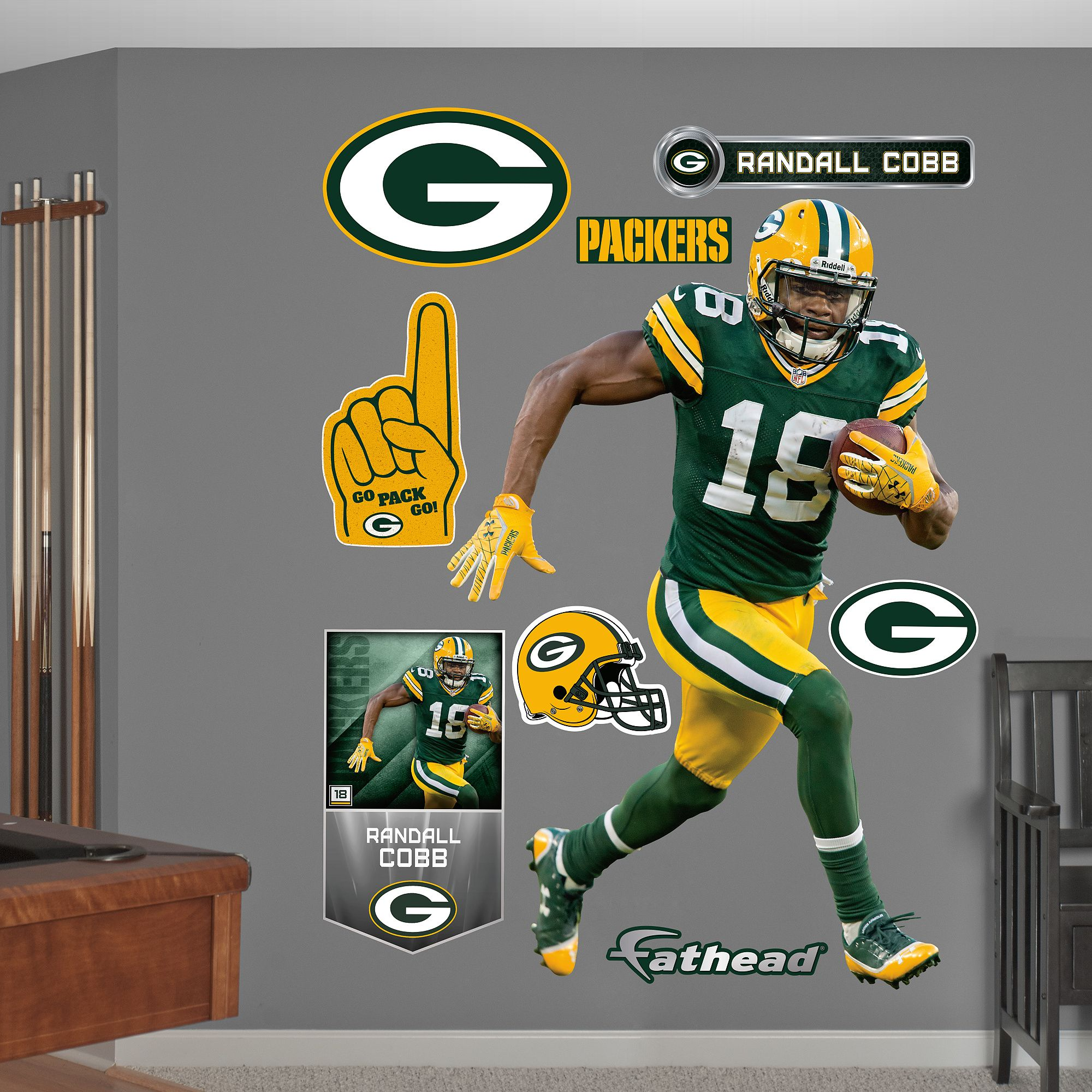 huge selection of a805a 432e7 Randall Cobb - No. 18, Green Bay Packers | fat head ...