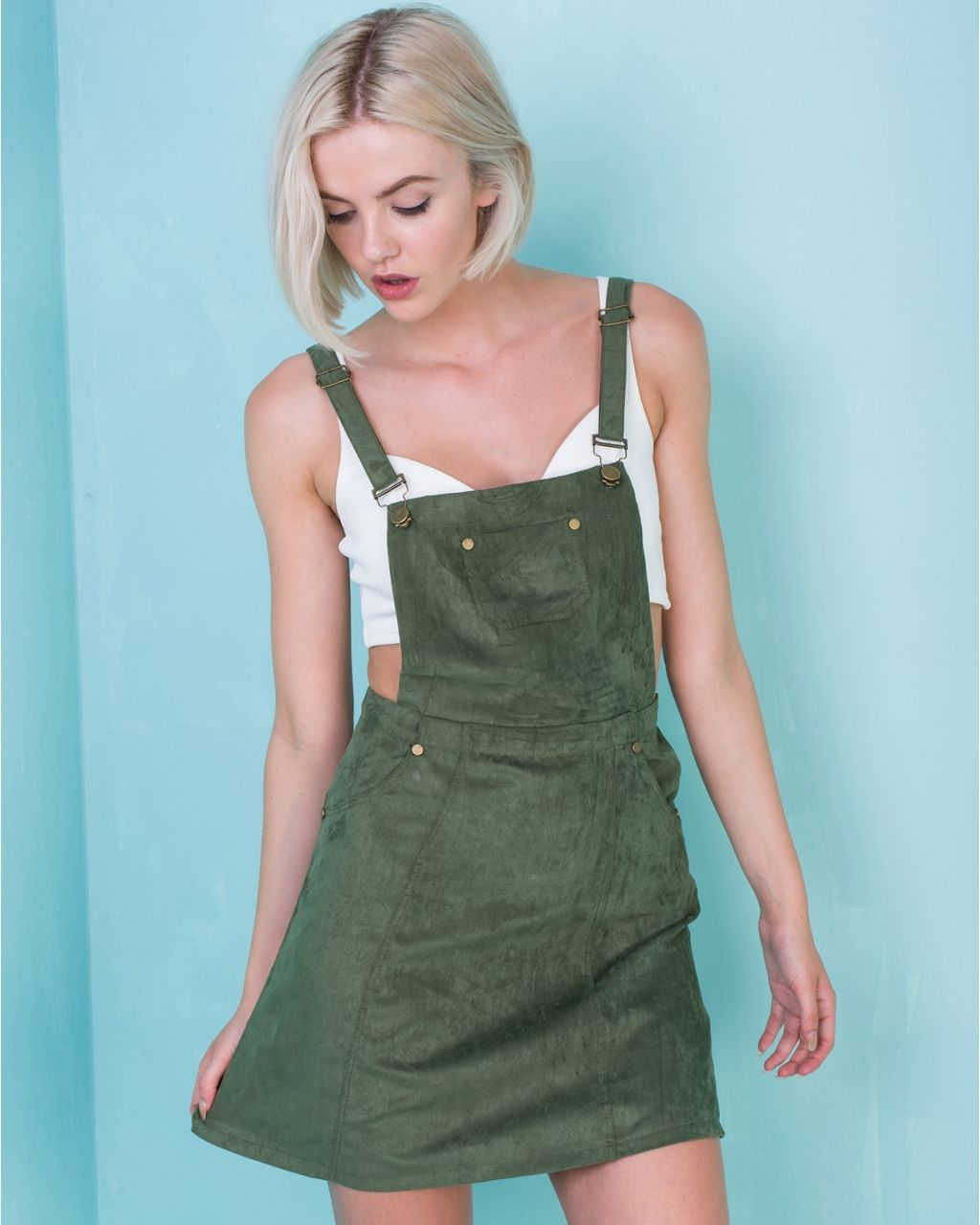 ad971884b97 Alita Khaki Seude Pinafore Dress at Missy Empire