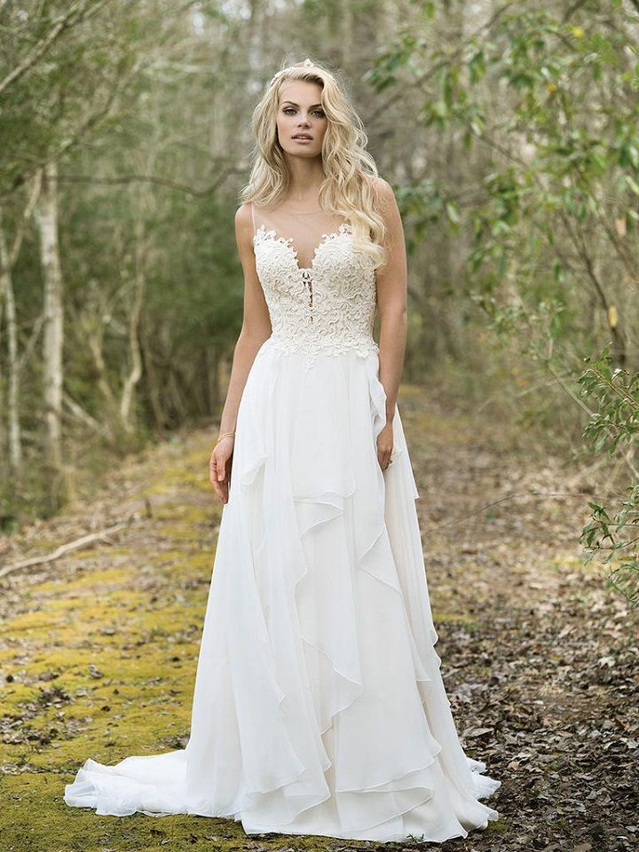 Sequined Lace Bodice with Illusion Back and Tiered Chiffon Skirt | itakeyou.co.uk #weddingdress #weddingdresses