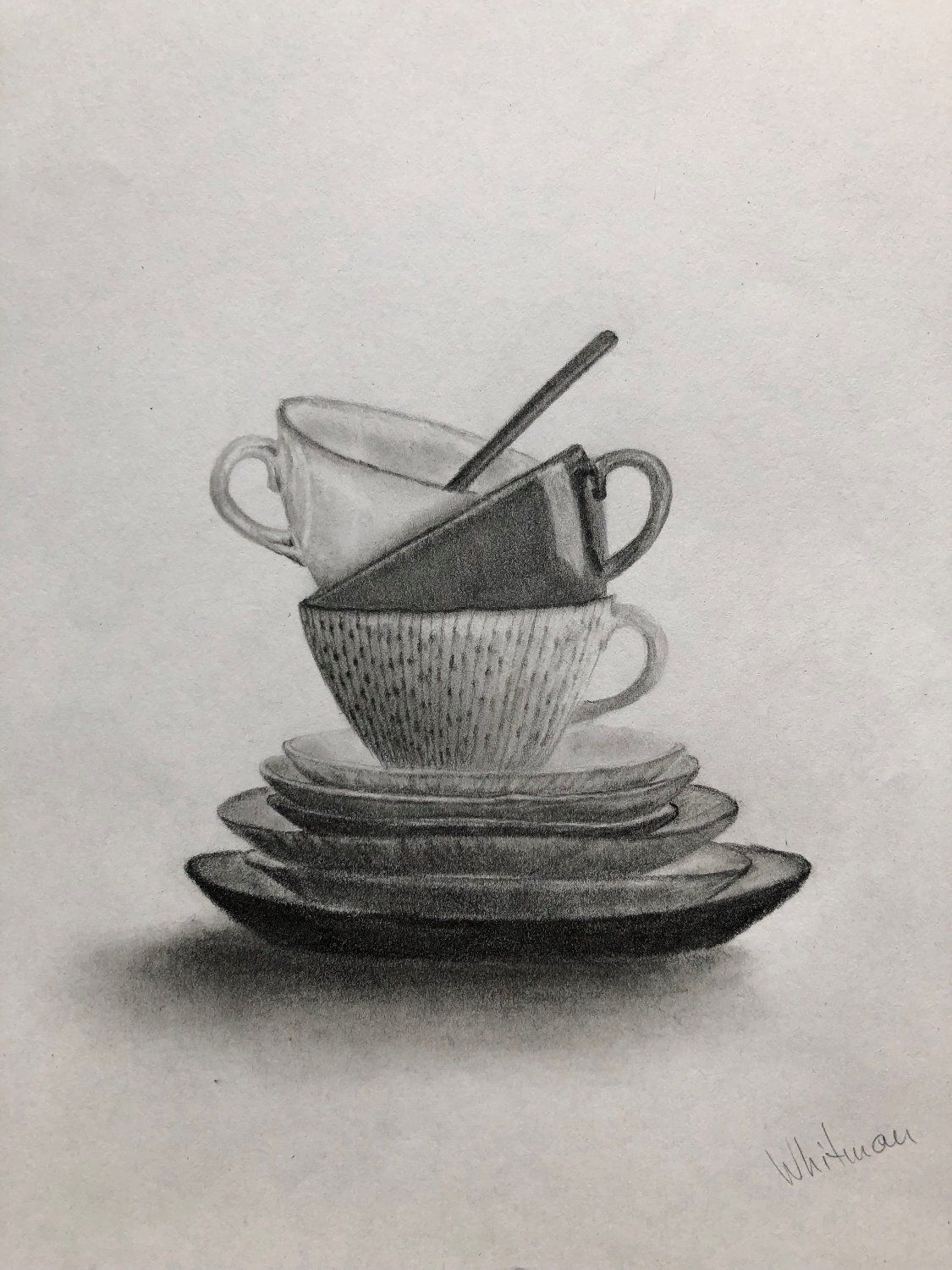Pencil drawing a cup coffee or tea