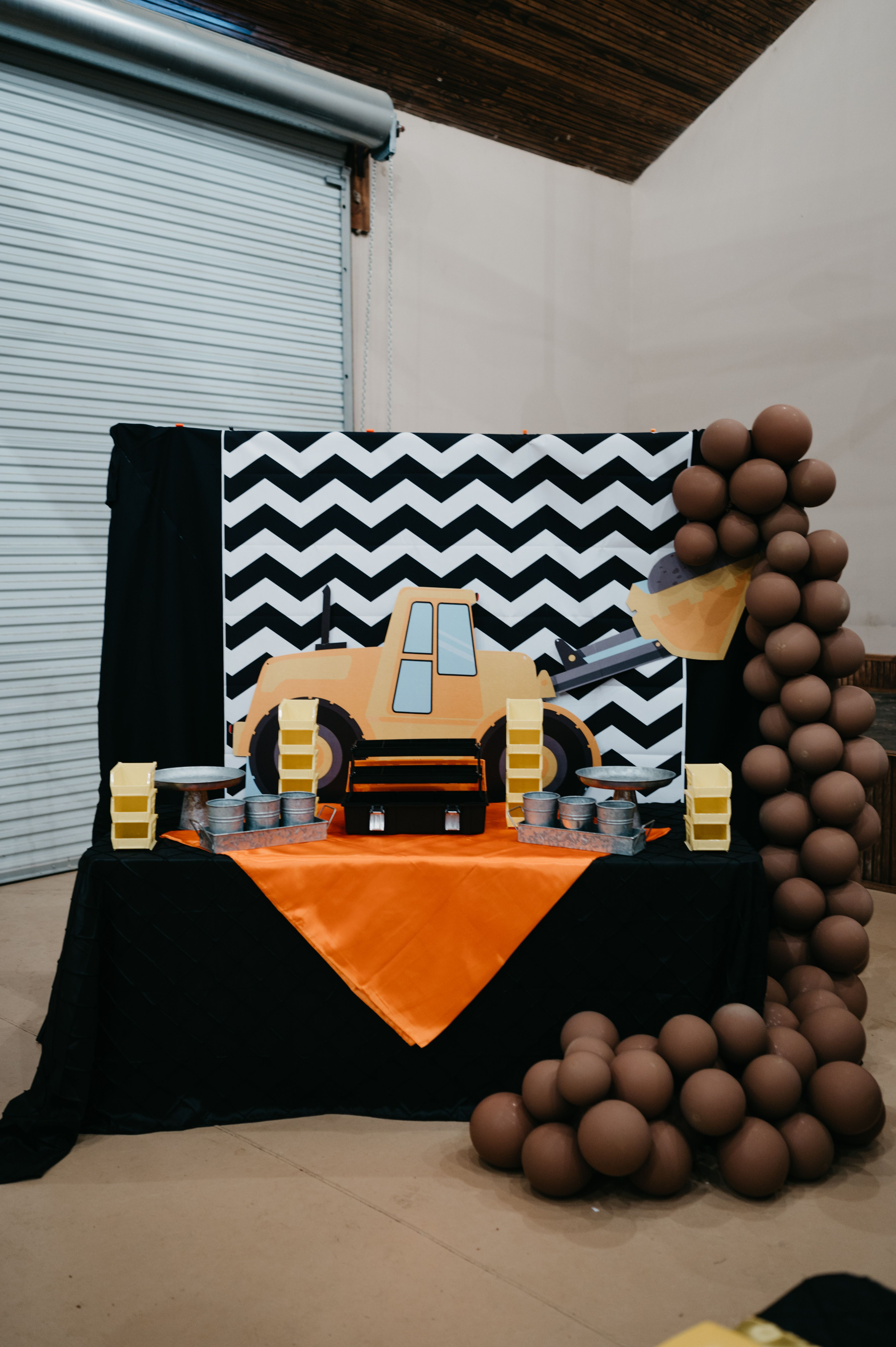 Construction kids birthday party desert table