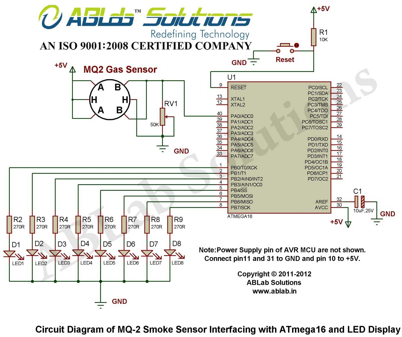 MQ-2-Smoke-Sensor-Interfacing-with-AVR ATmega16 Microcontroller-and-LED-Display  Circuit Diagram