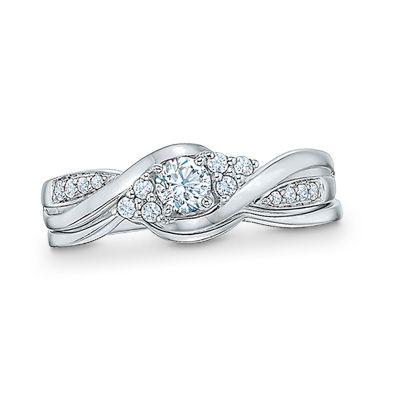 1 3 Ct T W Diamond Bypass Bridal Set In 10k White Gold