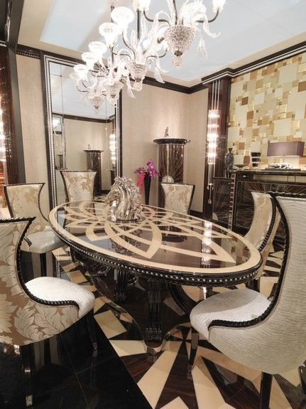 magnificent ebony with maple inlaid dining table