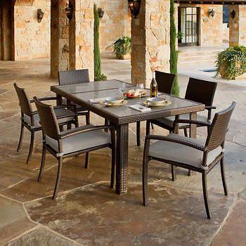 portofino 7-piece dining set in espresso taupe - stone top, Esstisch ideennn