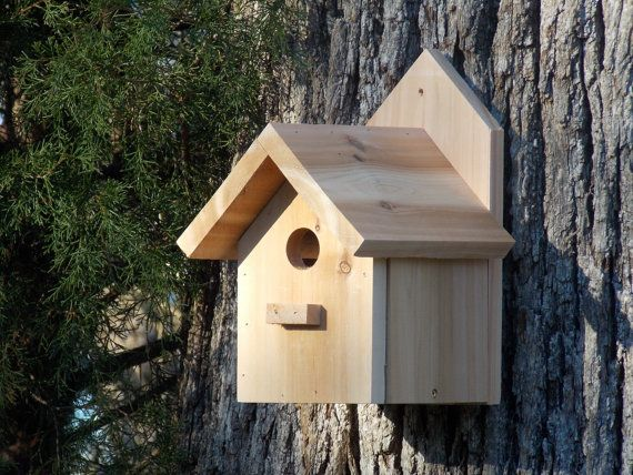 Outdoor Cedar Birdhouse Functional Handcrafted by CreationsByEric, $25.00
