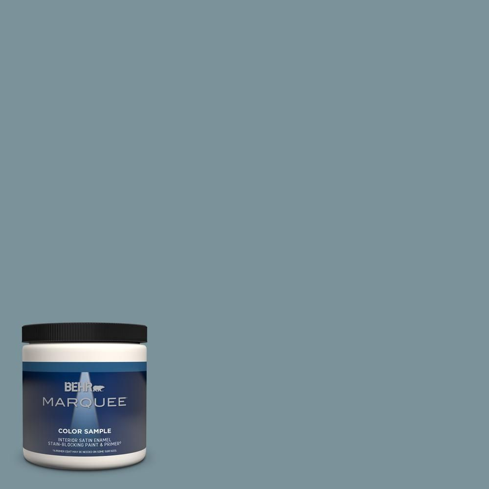 Behr Marquee 8 Oz Pmd 55 Silent Tide Satin Enamel Interior Exterior Paint Primer Sample Mq32416 The Home Depot Behr Marquee Behr Ultra Behr Marquee Paint