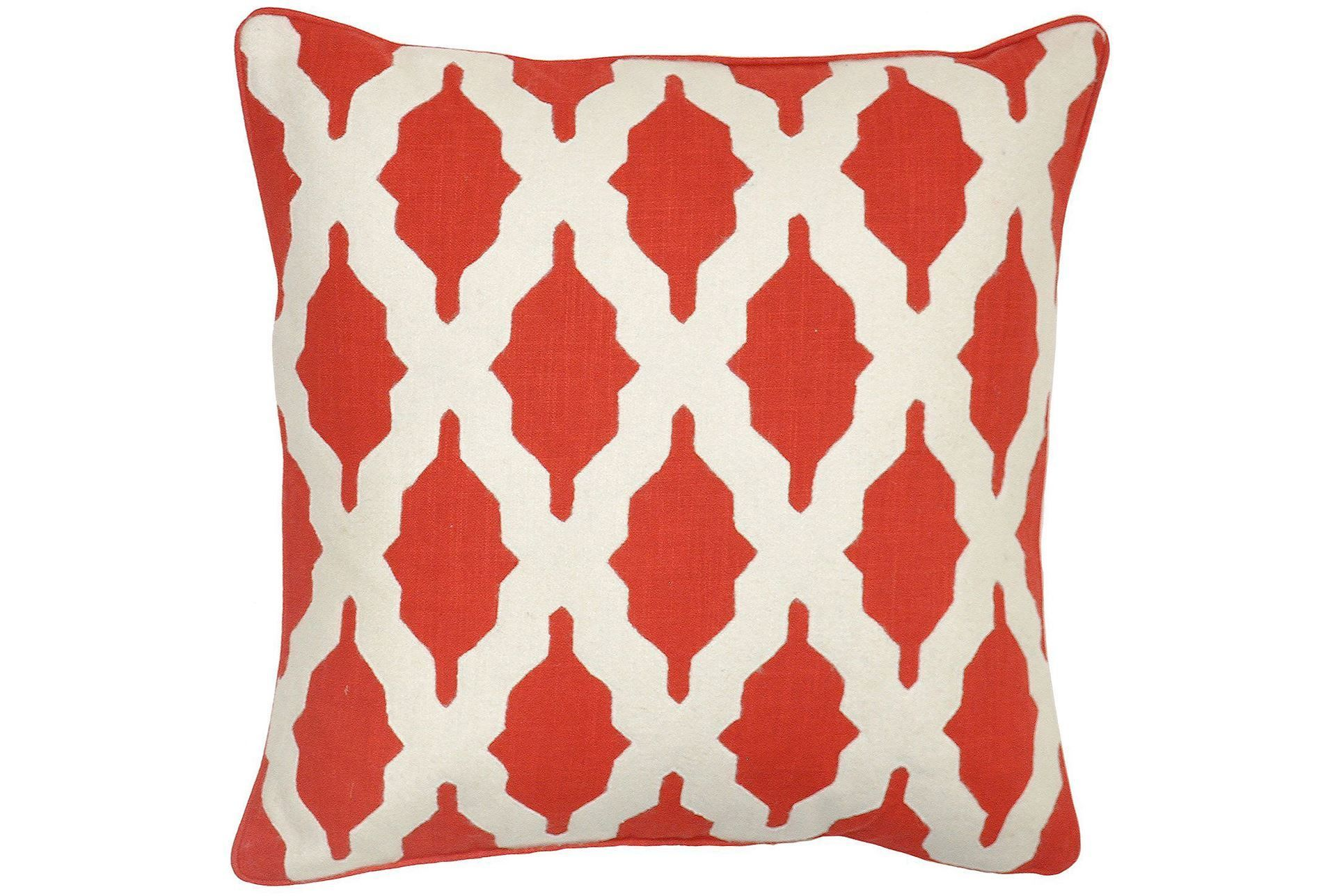 Made from cotton the bathesda red accent pillow impresses with