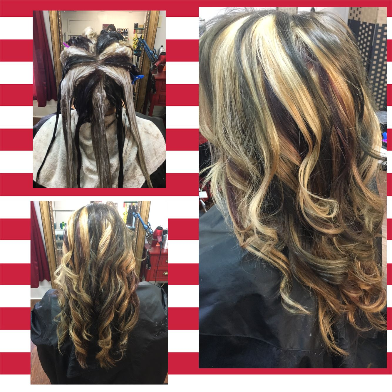 Pinwheel Hair Color Brown Blonde Red Beautiful