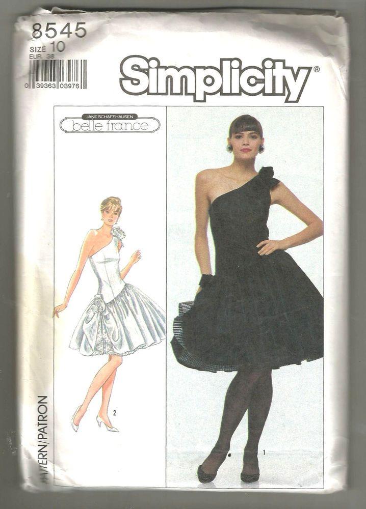 Simplicity 8545 80s party dress sewing pattern uncut Belle France ...