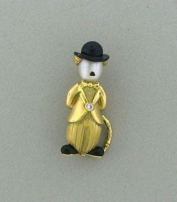 VINTAGE FRED PARIS 18K GOLD ENAMEL PEARL DIAMOND CHARLIE CHAPLIN BROOCH PIN | eBay