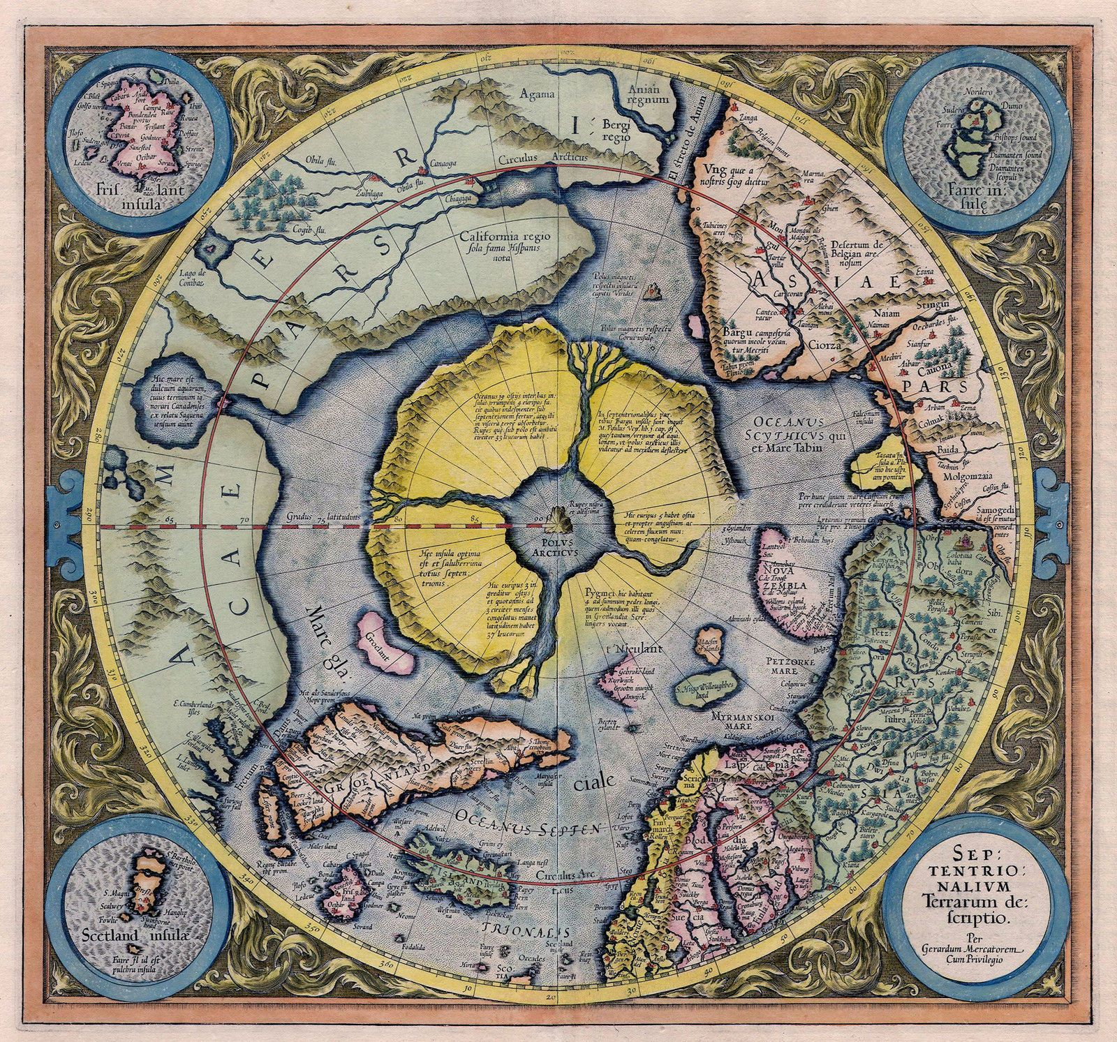 1595 Flat Earth Map North Pole Septentrionalium Terrarum Art Poster
