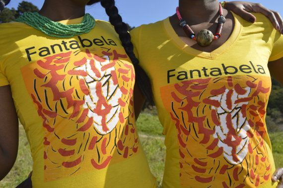 African warrior yellow teeshirt by FANTABELA on Etsy