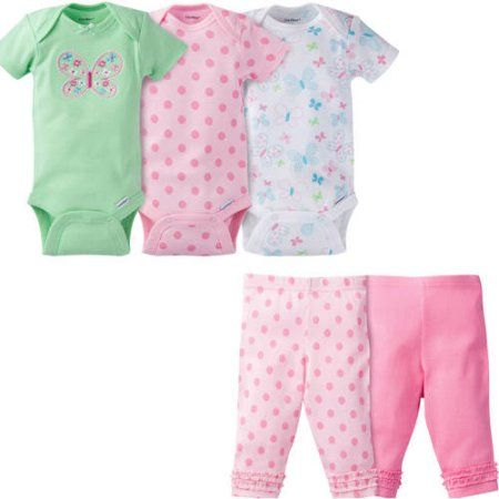 Gerber Newborn Baby Girl Onesies Bodysuits Assorted and Modern Fit Pants, 5-Piece Outfit Set, Size: 0 - 3 Months, Green