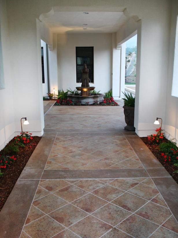 12 outdoor flooring ideas - Concrete Tile Garden Decor