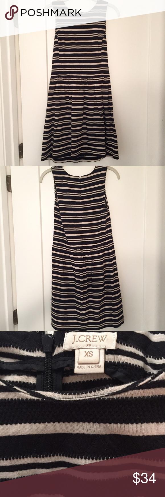 Jcrew striped tank dress Comfortable, cotton tank dress from Jcrew. Black and white striped pattern. Zipper in back. This is flattering and versatile dress-- I've worn it to dinner with sandals, and to work with a blazer. Excellent condition. Great for summer! J. Crew Dresses