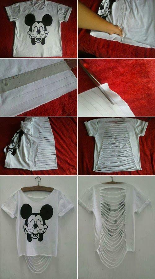 4285afc829 customização - como fazer camiseta rasgada nas costas