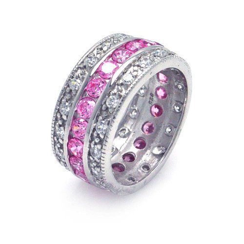 Sterling Silver 5 Row Pink Center Row Ring