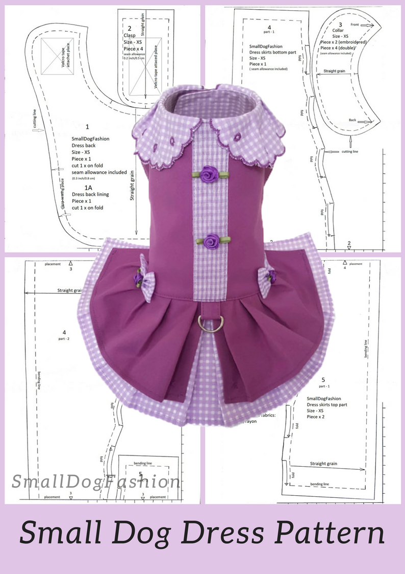 Dog dress pattern dog clothes PDF Girl dog clothes dress For small dog pattern Pet clothes small Dog dresses pdf pattern Small dog clothes