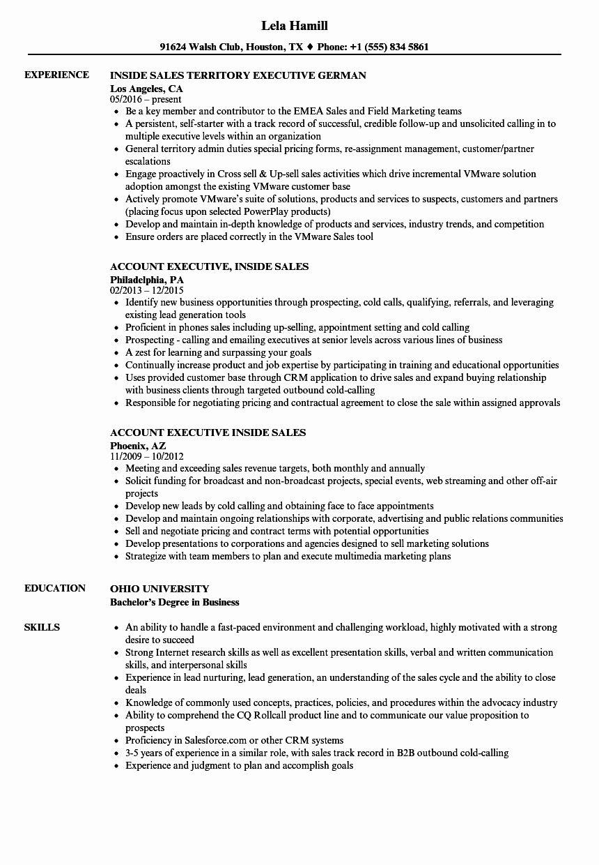 Inside Sales Resume Objective