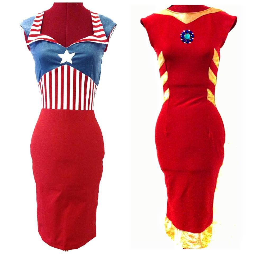 Captain America And Iron Man Pinup Dresses. With Cute