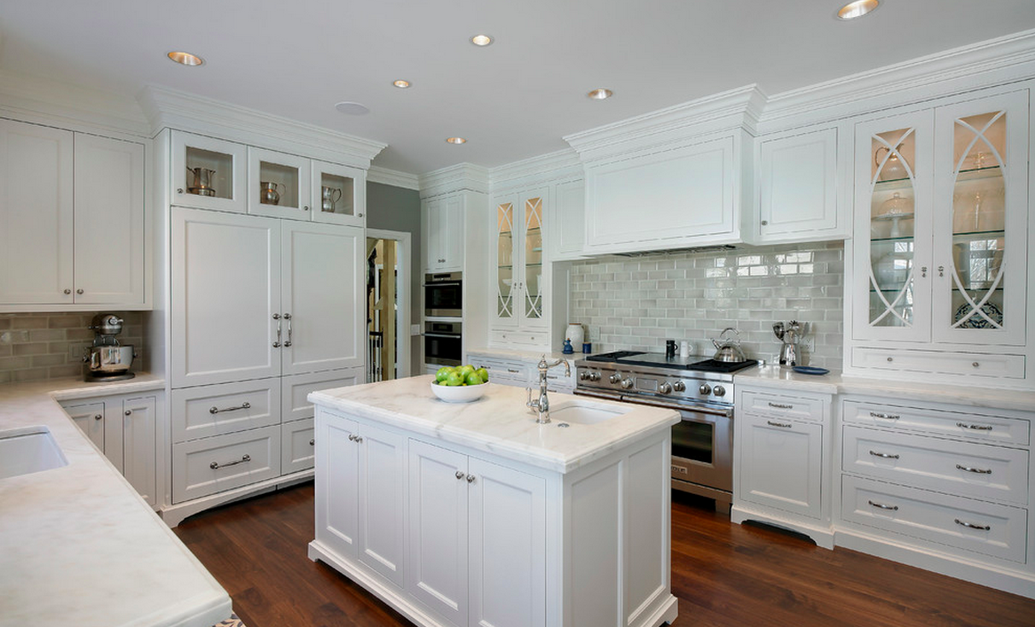 Grey And White Kitchen Backsplash Encore Ceramics  This Traditional Grey And White Kitchen Uses 3X8