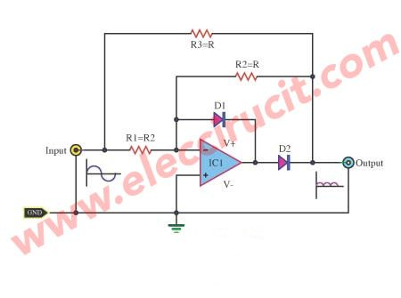 full-wave-rectifier-with-an-op-amp-ic.jpg (450×335) | Simple ...