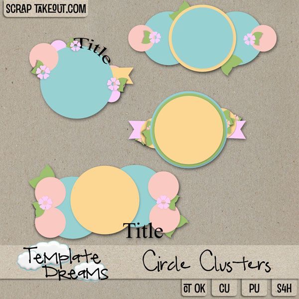 Commercial Use :: Templates :: Other :: Circle Clusters Templates Digital Scrapbooking