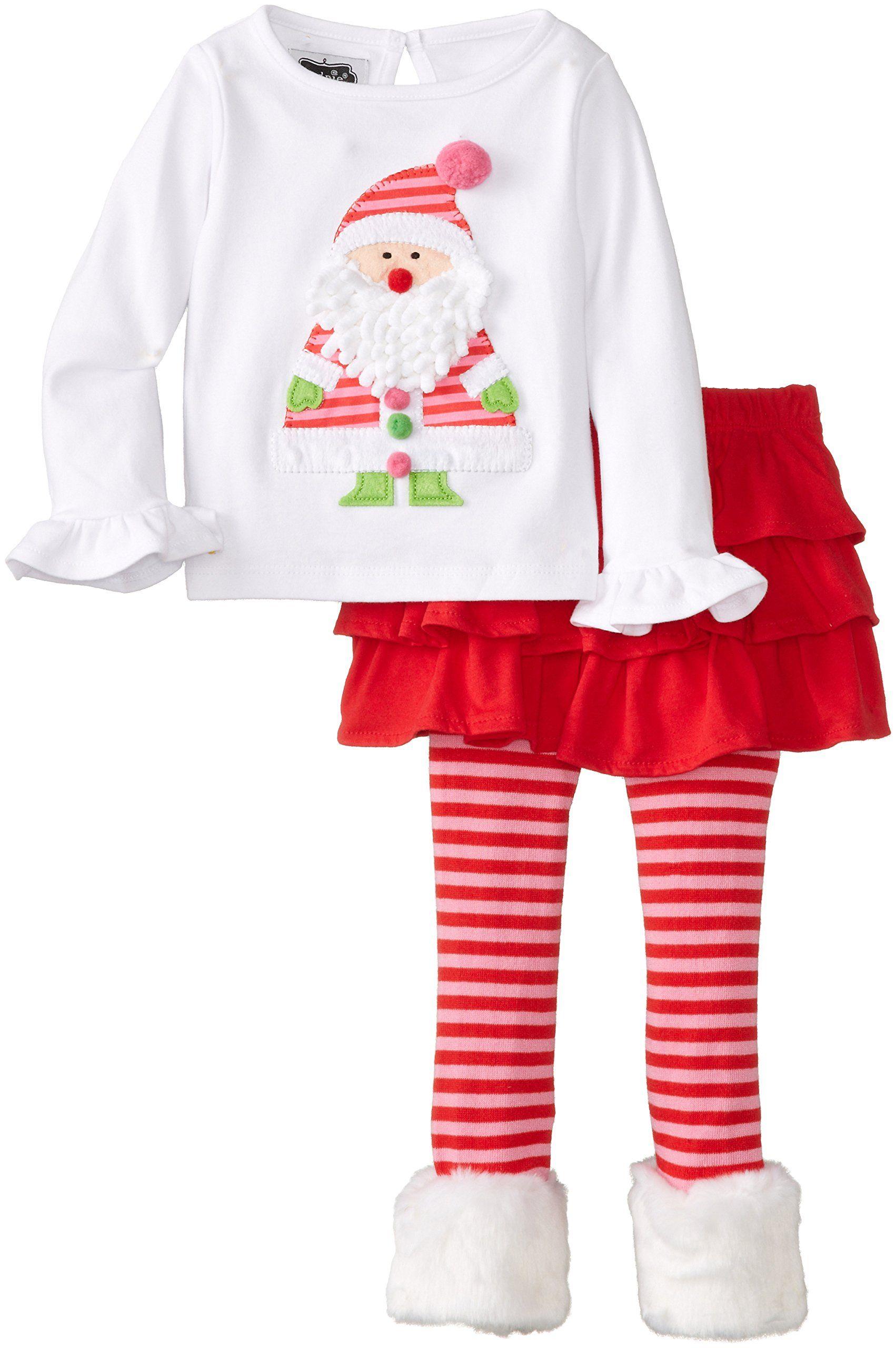 Mud Pie Little Girls\' Toddler Santa Baby Skirt Set, Pink, 4T. This ...