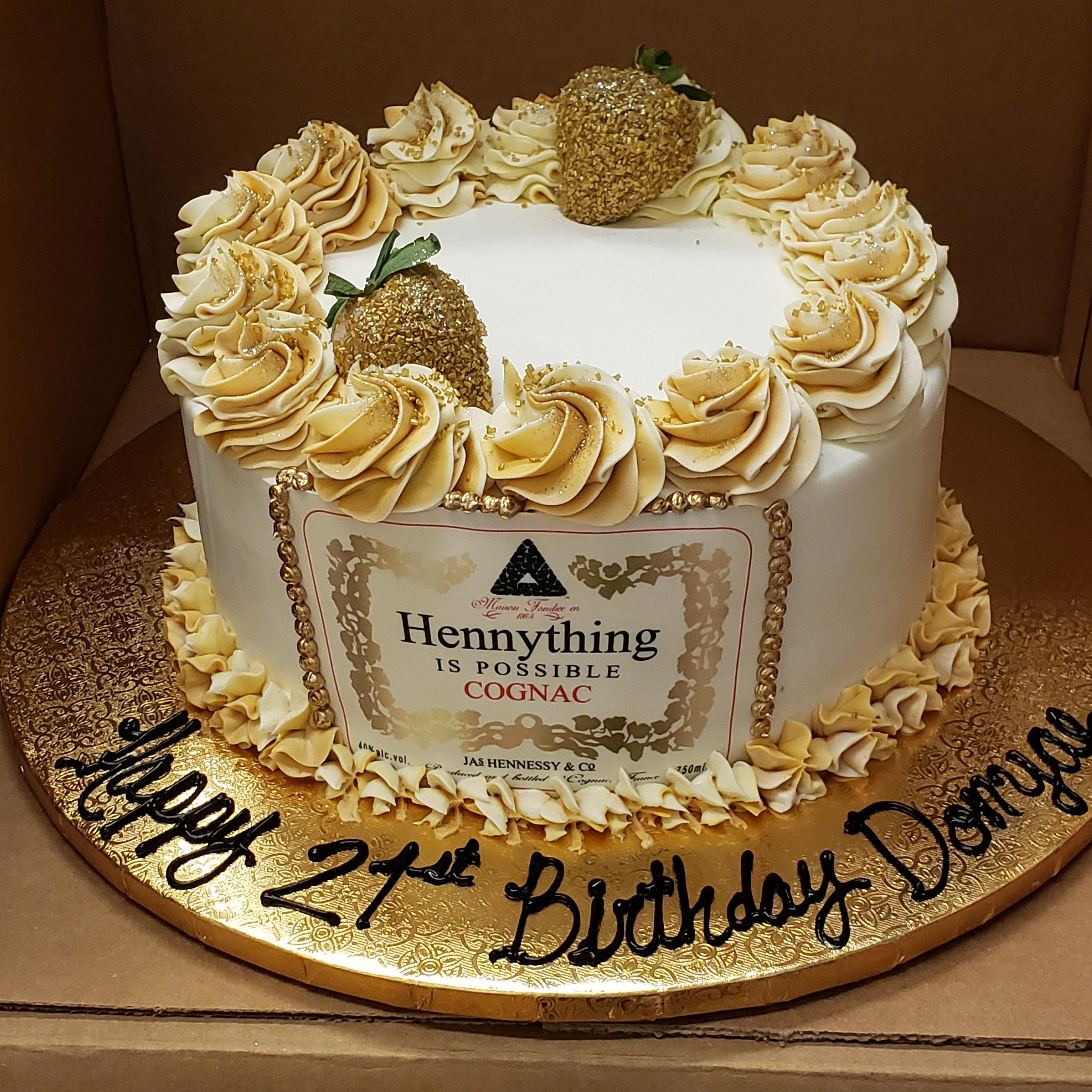 Henneything Is Possible Cake With Gold Strawberries In 2020 Calumet Bakery Themed Cakes Cake