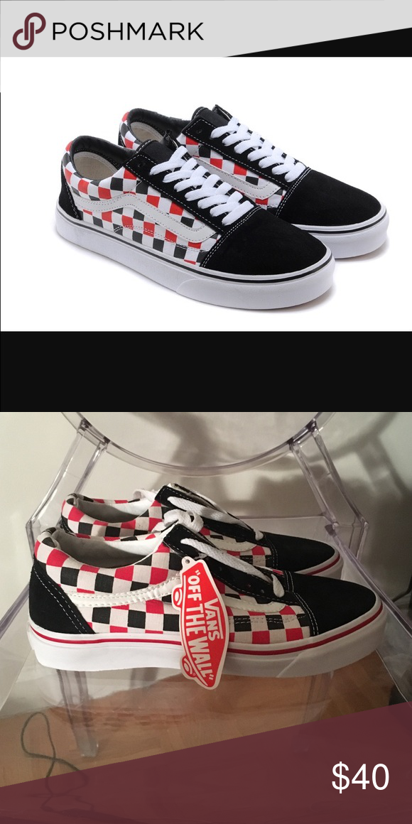 vans old skool checkerboard black red