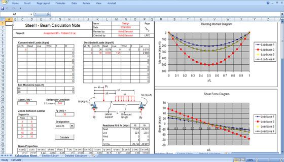 Structural Calculation Spreadsheet Structural Design Spreadsheet Civil Engineering Design Steel Beams Design