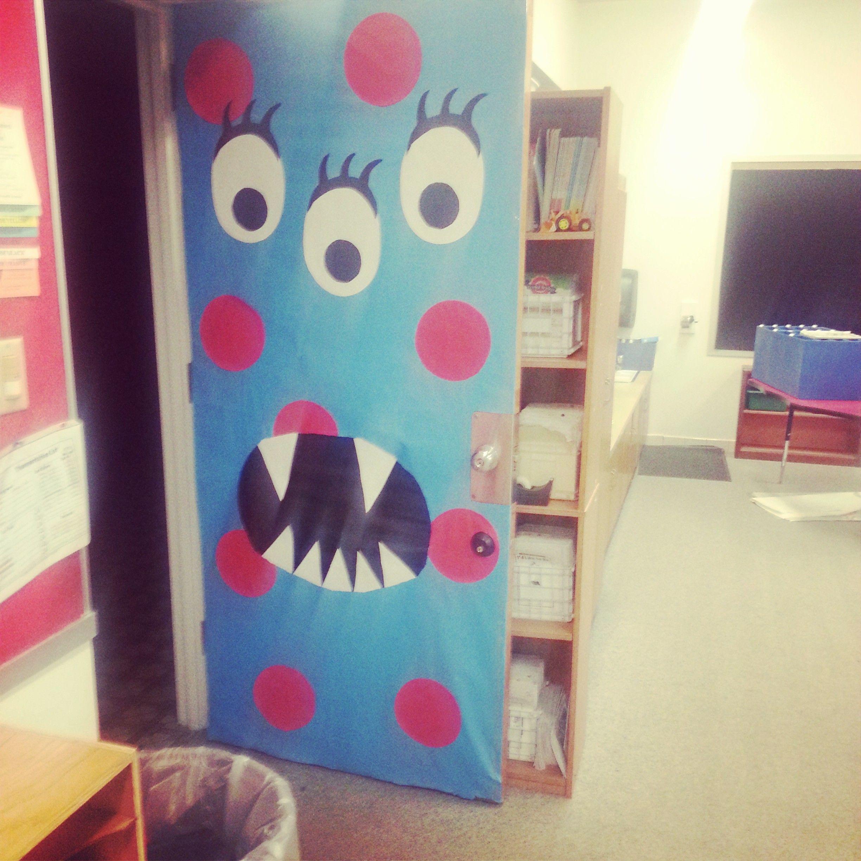 Monster theme door decoration teacher 39 s corner for Puertas decoradas de halloween