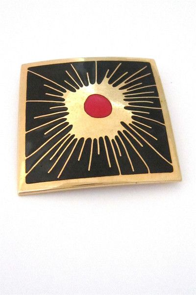 de Passillé-Sylvestre, Canada - Modernist large enamel 'crimson splash' brooch